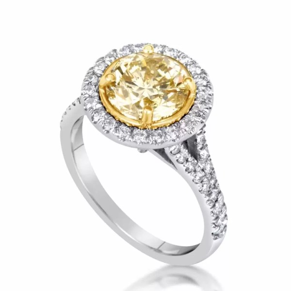 4.50 Ct Round Cut Fancy Yellow Diamond Solitaire Engagement Ring 18K Gold