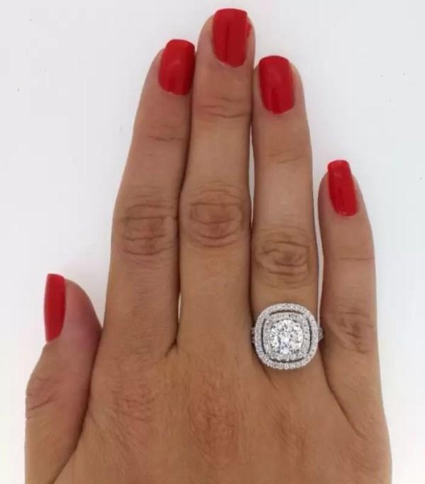 4.52 Carat Round Cut Diamond Engagement Ring 18K White Gold 2