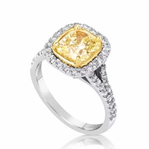 5.00 Ct Cushion Cut Fancy Yellow Vs1 Diamond Solitaire Engagement Ring 18K Gold