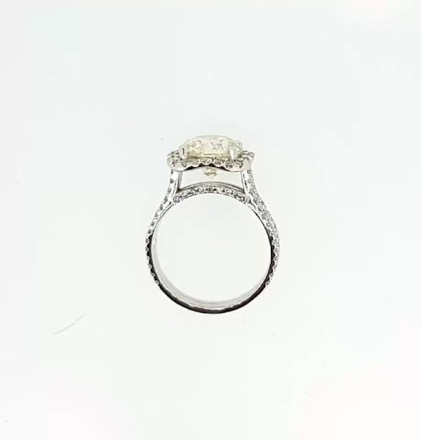 5.25 Carat Round Cut Diamond Engagement Ring 18K White Gold 3