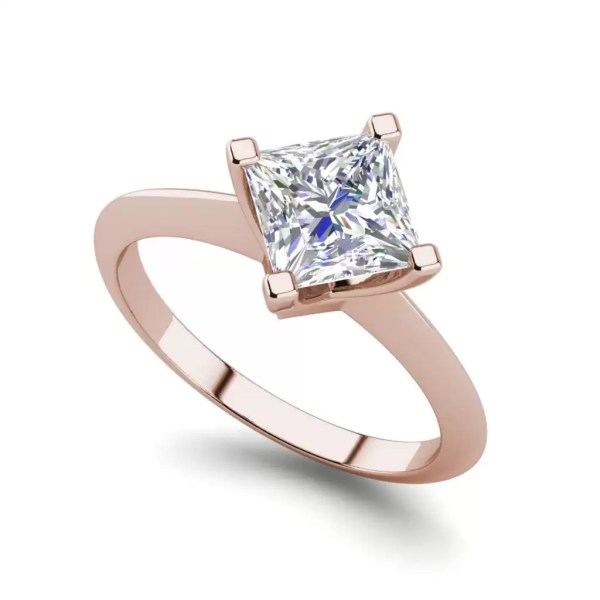 4 Prong 0.75 Carat VS1 Clarity F Color Princess Cut Diamond Engagement Ring Rose Gold