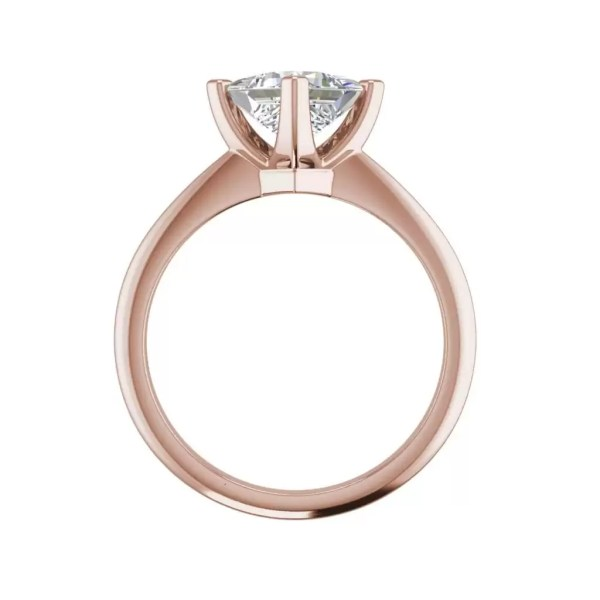 4 Prong 2 Carat VS2 Clarity H Color Princess Cut Diamond Engagement Ring Rose Gold 2