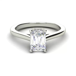 4 Prong 2.25 Carat VS2 Clarity D Color Emerald Cut Diamond Engagement Ring White Gold 3