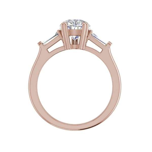 Baguette Accents 1.25 Ct VVS1 Clarity D Color Pear Cut Diamond Engagement Ring Rose Gold 2