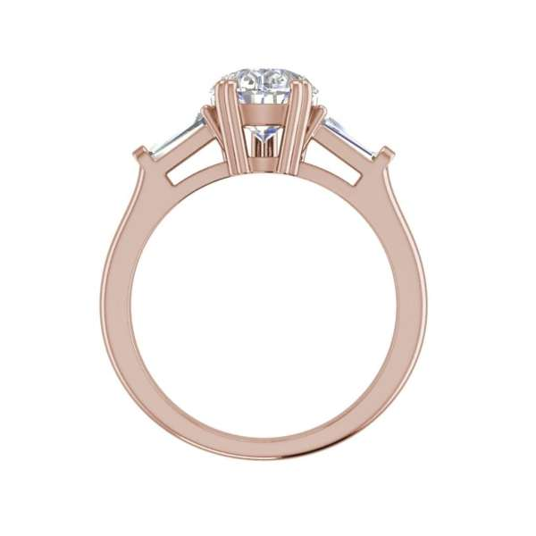 Baguette Accents 1.25 Ct VVS2 Clarity F Color Pear Cut Diamond Engagement Ring Rose Gold 2