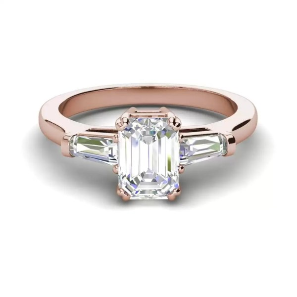 Baguette Accents 1.5 Ct VS2 Clarity F Color Emerald Cut Diamond Engagement Ring Rose Gold 3
