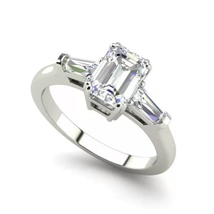Baguette Accents 1.5 Ct VS2 Clarity F Color Emerald Cut Diamond Engagement Ring White Gold