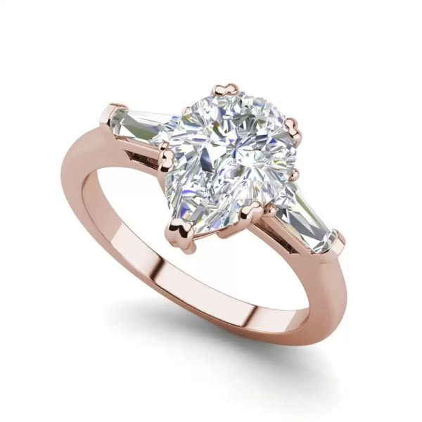 Baguette Accents 1.5 Ct VVS1 Clarity D Color Pear Cut Diamond Engagement Ring Rose Gold