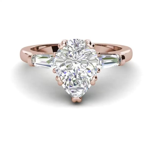 Baguette Accents 2.5 Ct VVS1 Clarity D Color Pear Cut Diamond Engagement Ring Rose Gold 3
