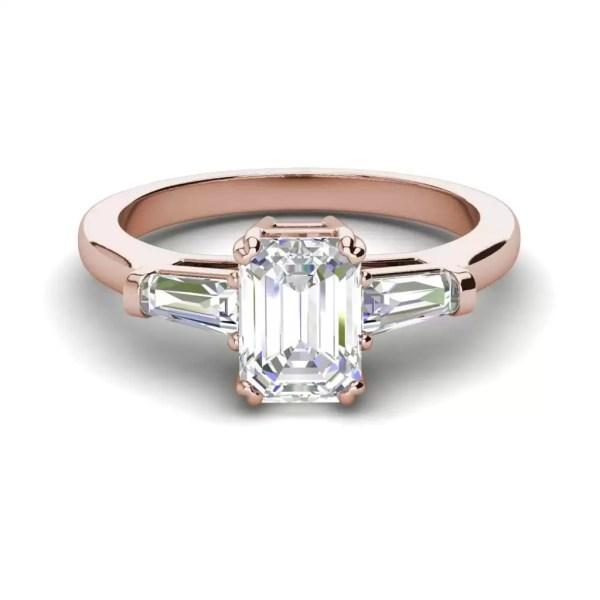Baguette Accents 3 Ct VVS2 Clarity F Color Emerald Cut Diamond Engagement Ring Rose Gold 3