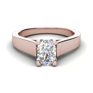 Cathedral 0.75 Carat VS1 Clarity F Color Oval Cut Diamond Engagement Ring Rose Gold 3