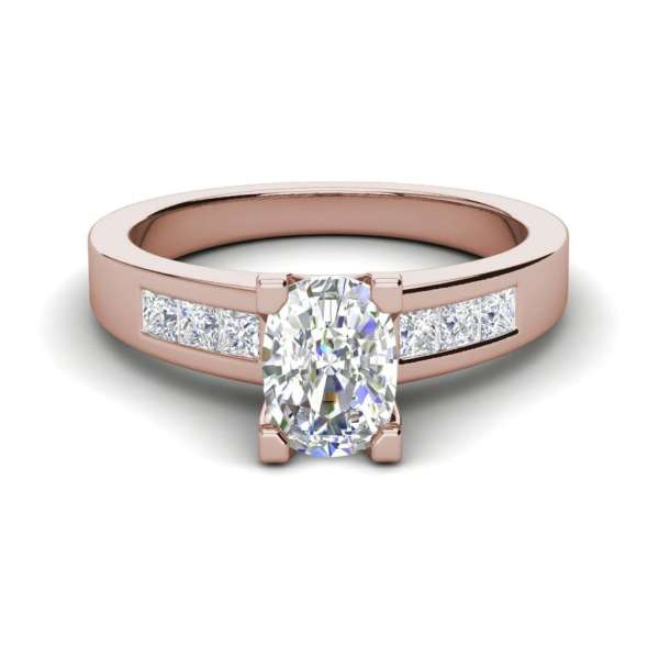 Channel Set 2.95 Carat VS2 Clarity F Color Oval Cut Diamond Engagement Ring Rose Gold 3