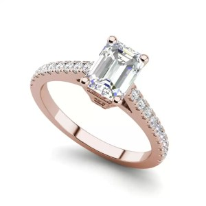 Classic Pave 2.45 Carat VS2 Clarity D Color Emerald Cut Diamond Engagement Ring Rose Gold