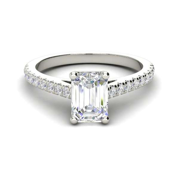 Classic Pave 2.45 Carat VS2 Clarity D Color Emerald Cut Diamond Engagement Ring White Gold 3