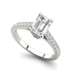 Classic Pave 2.45 Carat VS2 Clarity D Color Emerald Cut Diamond Engagement Ring White Gold