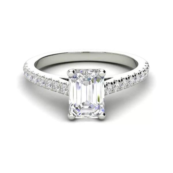 Classic Pave 2.7 Carat VVS1 Clarity D Color Emerald Cut Diamond Engagement Ring White Gold 3