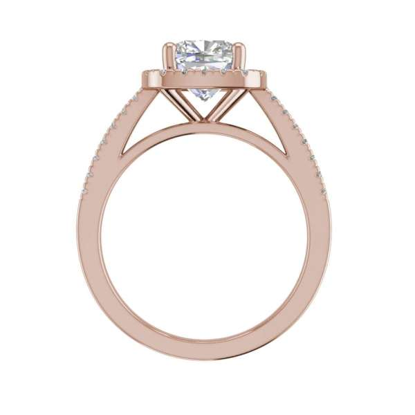 Halo 1.45 Carat VS2 Clarity F Color Cushion Cut Diamond Engagement Ring Rose Gold 2
