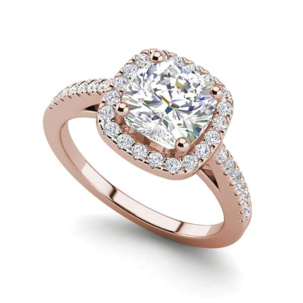 Halo 1.45 Carat VS2 Clarity F Color Cushion Cut Diamond Engagement Ring Rose Gold