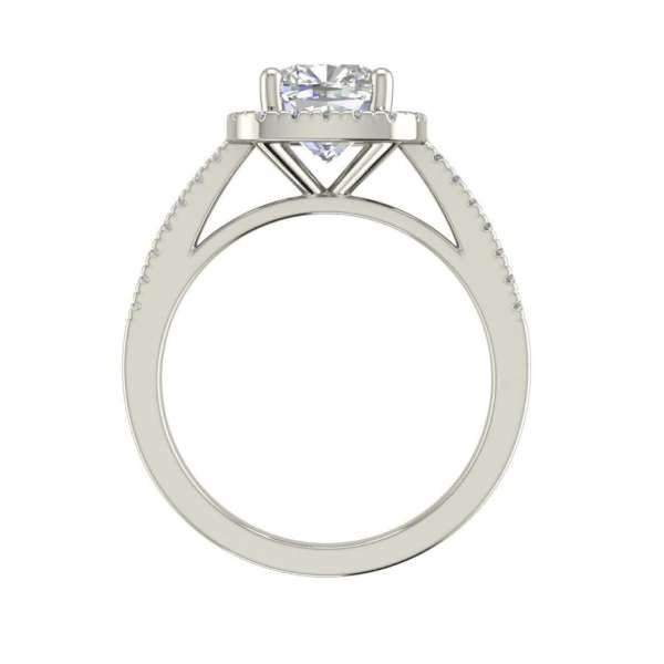 Halo 1.45 Carat VS2 Clarity F Color Cushion Cut Diamond Engagement Ring White Gold 2