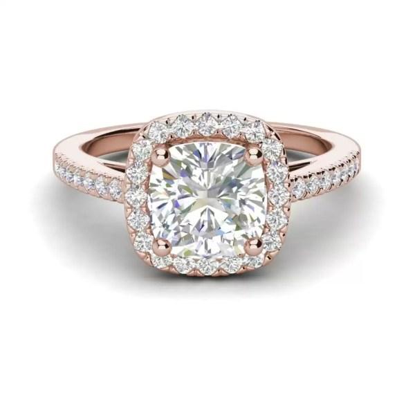Halo 1.7 Carat VS2 Clarity F Color Cushion Cut Diamond Engagement Ring Rose Gold 3