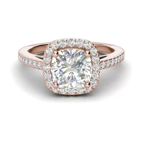 Halo 1.7 Carat VS2 Clarity F Color Cushion Cut Diamond Engagement Ring Rose Gold 3