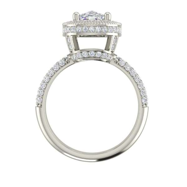 Halo 2.25 Carat VS2 Clarity F Color Cushion Cut Diamond Engagement Ring White Gold 2