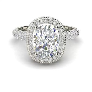 Halo 2.25 Carat VS2 Clarity F Color Cushion Cut Diamond Engagement Ring White Gold 3