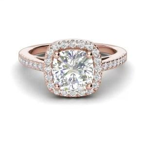Halo 2.7 Carat VS1 Clarity F Color Cushion Cut Diamond Engagement Ring Rose Gold 3