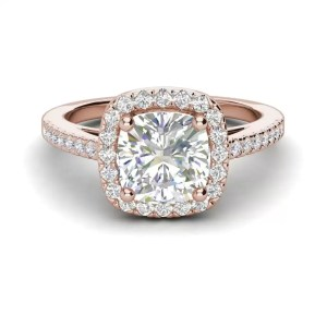 Halo 2.7 Carat VS1 Clarity F Color Cushion Cut Diamond Engagement Ring Rose Gold 3