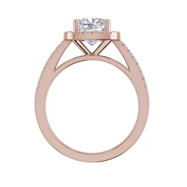 Halo 2.95 Carat VS2 Clarity H Color Cushion Cut Diamond Engagement Ring Rose Gold.2