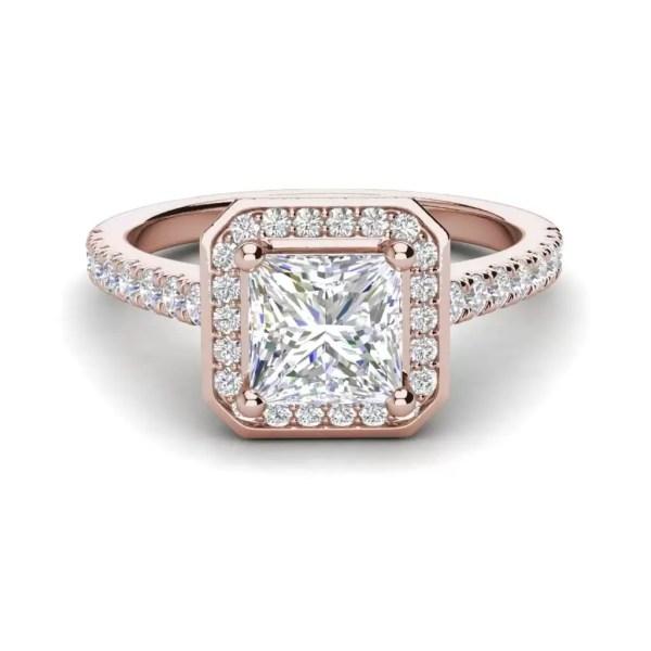 Halo Pave 2.45 Carat VS2 Clarity D Color Princess Cut Diamond Engagement Ring Rose Gold 3