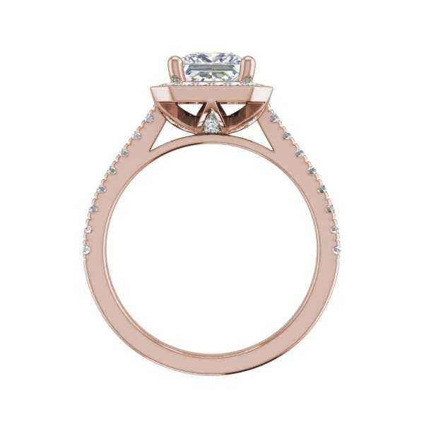 Halo Pave 2.95 Carat VS1 Clarity H Color Princess Cut Diamond Engagement Ring Rose Gold 2