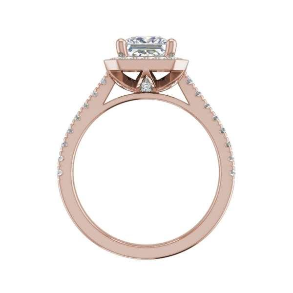 Halo Pave 3.2 Carat VS1 Clarity D Color Princess Cut Diamond Engagement Ring Rose Gold 2
