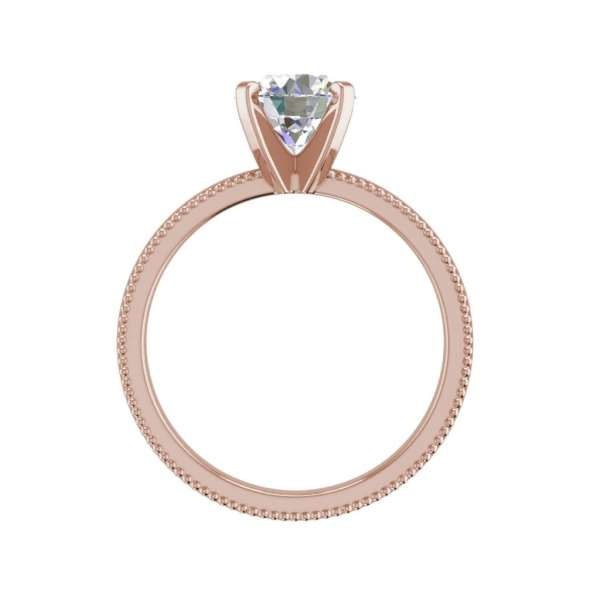 Milgrain Solitaire 0.75 Ct SI1 Clarity F Color Round Cut Diamond Engagement Ring Rose Gold 2