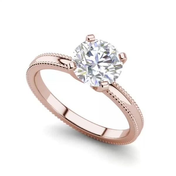 Milgrain Solitaire 0.75 Ct VS2 Clarity F Color Round Cut Diamond Engagement Ring Rose Gold