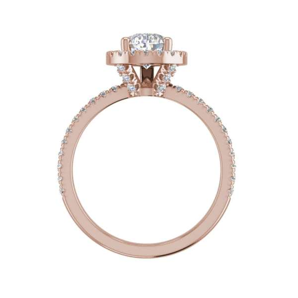 Pave Halo 1.7 Carat VS2 Clarity D Color Pear Cut Diamond Engagement Ring Rose Gold 2