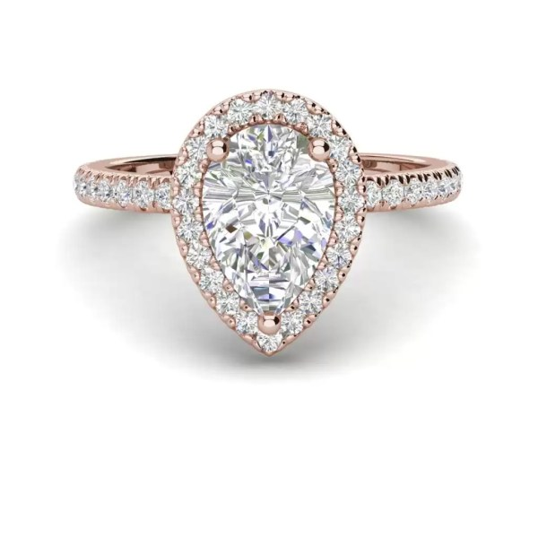 Pave Halo 1.7 Carat VS2 Clarity D Color Pear Cut Diamond Engagement Ring Rose Gold 3