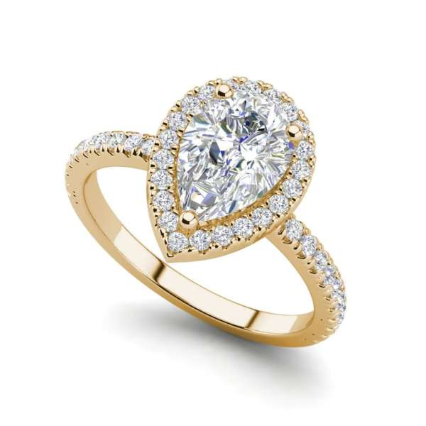 Pave Halo 2.2 Carat SI1 Clarity F Color Pear Cut Diamond Engagement Ring Rose Gold