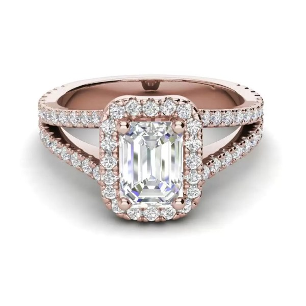 Pave Halo 2.4 Carat VS2 Clarity F Color Emerald Cut Diamond Engagement Ring Rose Gold 3