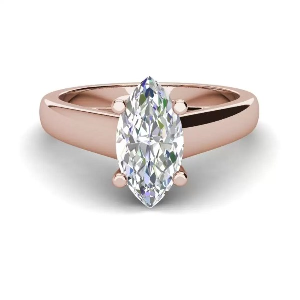 Solitaire 0.9 Carat VVS2 Clarity F Color Marquise Cut Diamond Engagement Ring Rose Gold 3