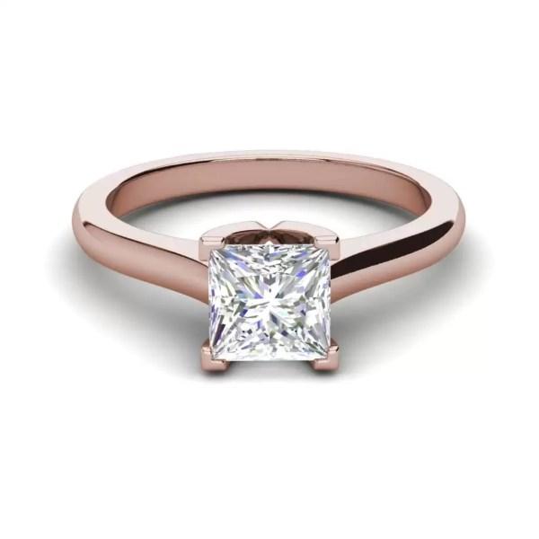 Solitaire 2.25 Carat VS2 Clarity F Color Princess Cut Diamond Engagement Ring Rose Gold 3
