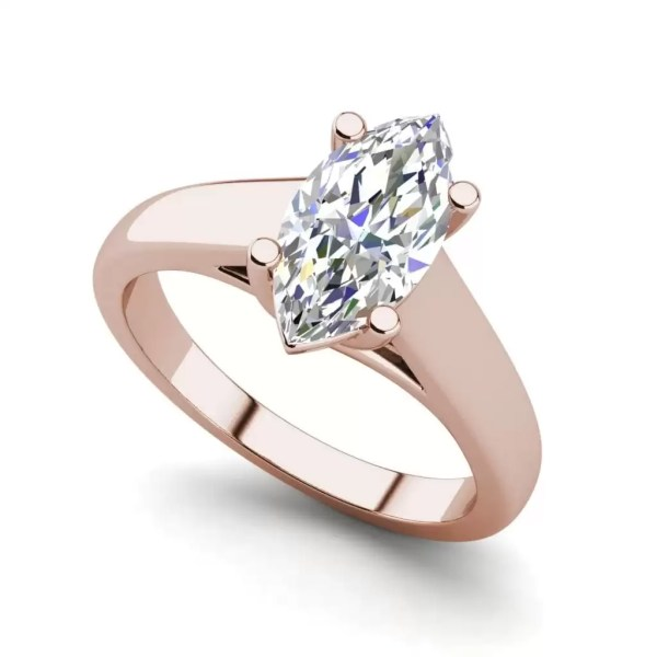 Solitaire 2.5 Carat SI1 Clarity F Color Marquise Cut Diamond Engagement Ring Rose Gold