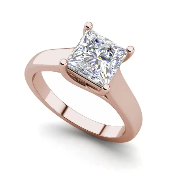 Solitaire 2.75 Carat SI1 Clarity F Color Princess Cut Diamond Engagement Ring Rose Gold