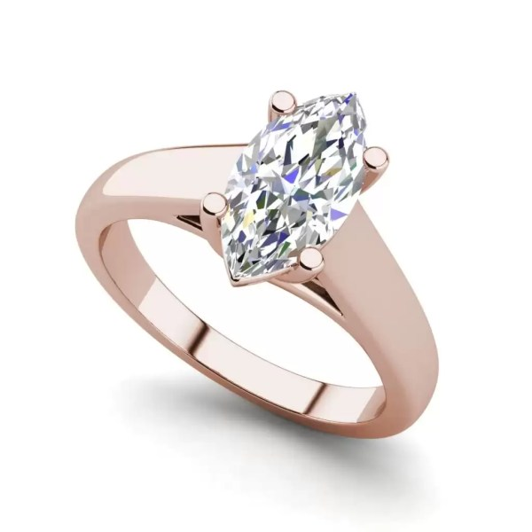 Solitaire 2.75 Carat VS1 Clarity F Color Marquise Cut Diamond Engagement Ring Rose Gold