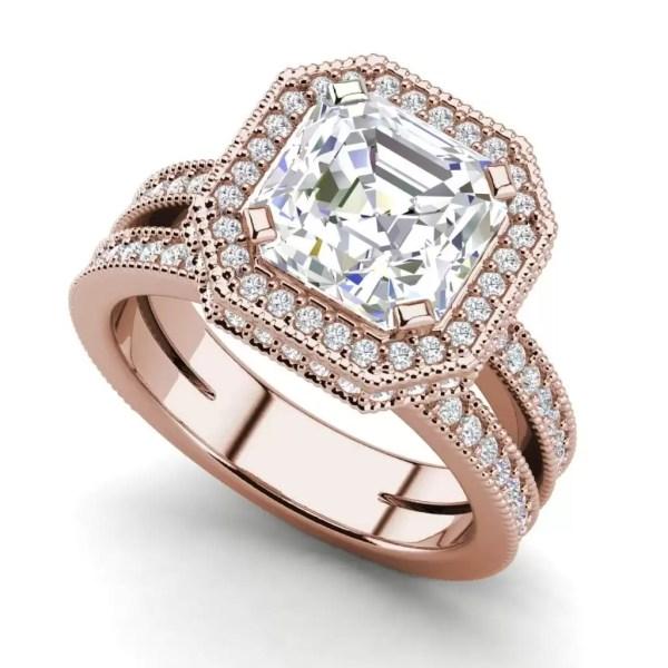 Split Shank Pave 2 Carat VS1 Clarity H Color Asscher Cut Diamond Engagement Ring Rose Gold