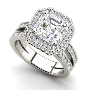 Split Shank Pave 2.75 Carat VS2 Clarity F Color Asscher Cut Diamond Engagement Ring White Gold