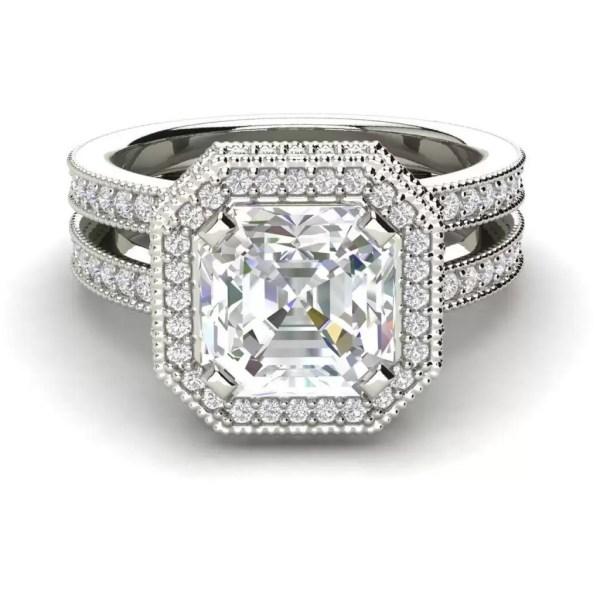Split Shank Pave 3.25 Carat VS2 Clarity F Color Asscher Cut Diamond Engagement Ring White Gold 3