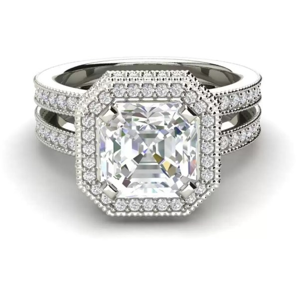 Split Shank Pave 3.25 Carat VS2 Clarity F Color Asscher Cut Diamond Engagement Ring White Gold 3