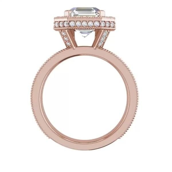 Split Shank Pave 3.5 Carat VS1 Clarity F Color Asscher Cut Diamond Engagement Ring Rose Gold