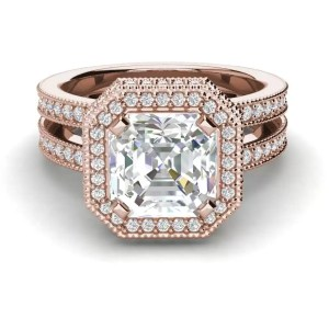 Split Shank Pave 3.5 Carat VS1 Clarity F Color Asscher Cut Diamond Engagement Ring Rose Gold 3